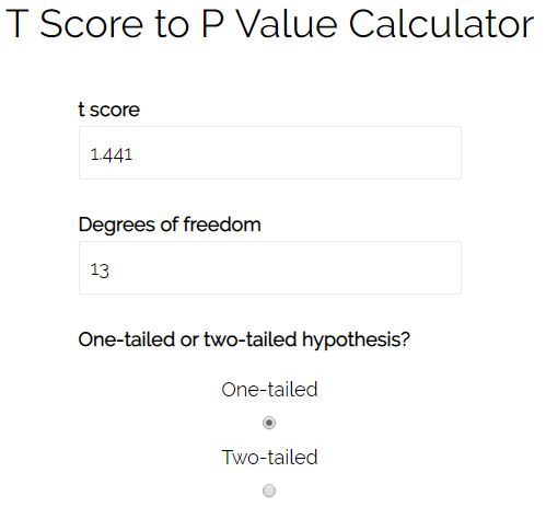 T score to p value online calculator