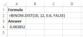 Binomial distribution in Excel