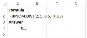 Binomial distribution with coin flips in Excel