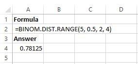 Binomial distribution in Excel example