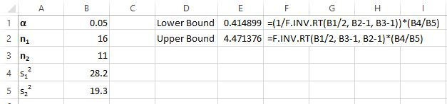 Confidence interval with F distribution in Excel