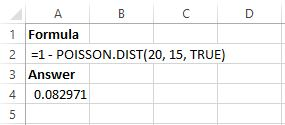 Poisson distribution example in Excel