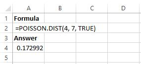 Poisson example in Excel