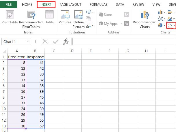 Scatterplot in Excel