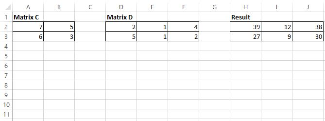 2x2 by 2x3 matrix multiplication in Excel example