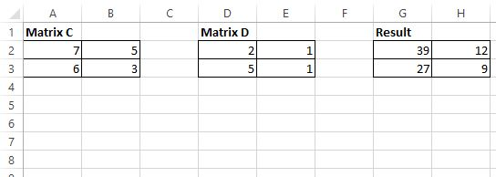 2x2 by 2x2 matrix multiplication in Excel