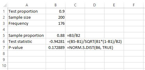 One-tailed one sample proportion Z test in Excel