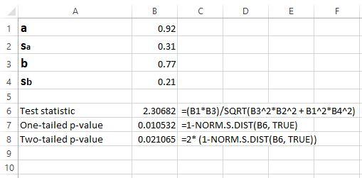 Sobel test in Excel