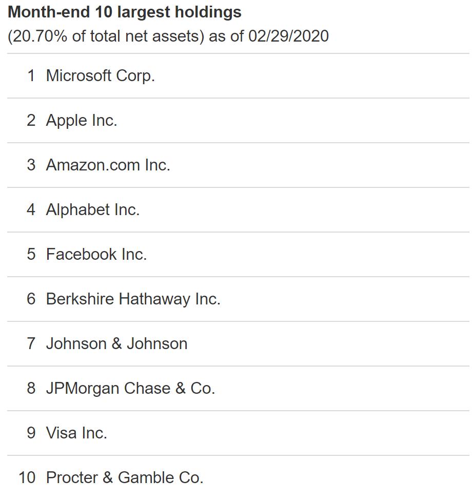 VTI top ten holdings